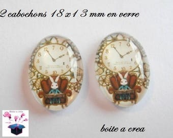2 glass cabochon Bunny d alice in Wonderland 18mm x 13mm