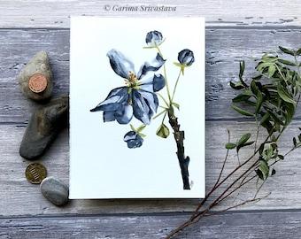 original floral watercolor painting gray flower grey artwork wall art relaxing botanical art small elegant aquarelle decor