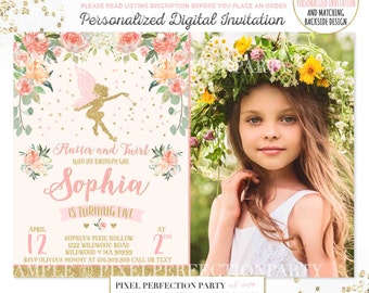 Fairy Invitation Fairy Birthday Invitation Whimsical Enchanted Pixie Invitation Magical Fairy Invite Fairy Birthday Floral Fairy Party 4R
