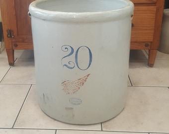 Antique Red Wing Crock, 20 Gallon, Vintage Stoneware Crocks, Union Stoneware, Red Wing, MN, Large Pottery Crocks, Farmhouse Porch Planter