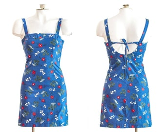 1990s blue sleeveless sheath dress with flower and palm tree print