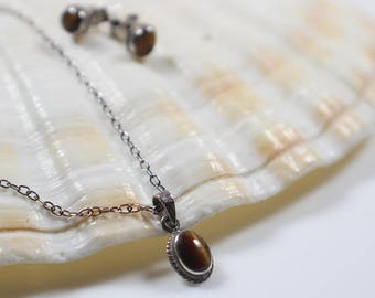 Tiny Tigers Eye Necklace and Earrings Set  Silver Metal Earwires and 925 Chain Necklace