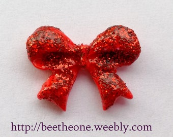 Flatback cabochon Glitter little bow - 25 mm - Red - Customizable color - Zambara Brand
