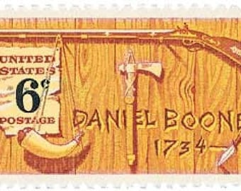 10 Daniel Boone 6c US postage stamps unused - Vintage 1968 - Rustic cabin country frontier Kentucky