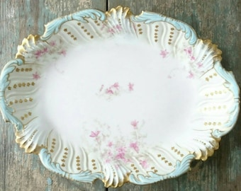 Vintage French Limoges serving platter. Gorgeous French serving dish. Vintage china bowl.