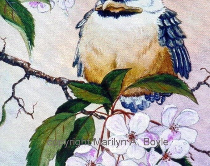 PRINT-BABY CHICKADEE; hand enhanced print, crab apple blossoms, wall art, 8 x10 inch on Bristol art paper,