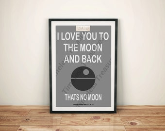 Geek (J) - Love You To The Moon and Back .... Thats No Moon - (Digital Download, Instant Download, Printable)