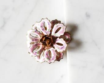 1970s enamel flower brooch // 1960s floral brooch // vintage brooch