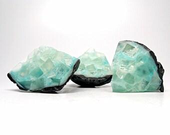 Blue Topaz Geode Shaped Soap Set