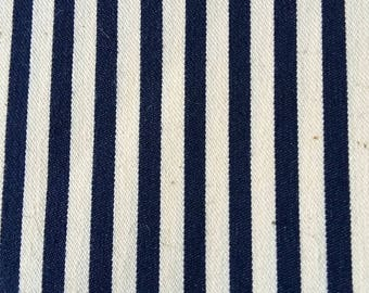navy striped cotton canvas