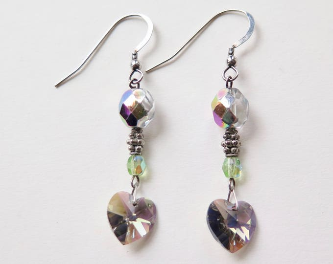 Swarovski Crystals - Heart Earrings - Crystal Earrings - Sterling Silver - Wedding - GIft for Her - Czech Crystal - Peridot -  Free Shipping