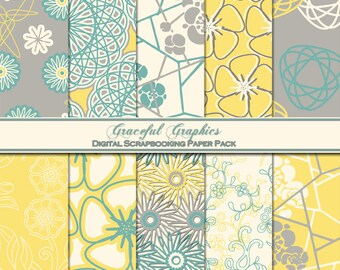 Scrapbook Paper Pack Digital Scrapbooking Background Papers DAMASK  10 8.5 x 11 Sheets French Green Yellow Gray White 1058gg