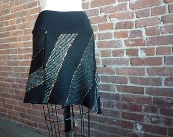 Women's Skirt, Wool Skirt, Mini Skirt, Winter Fashion, Asymmetrical, Flared Skirt, Striped Skirt, Cute Skirt, Black, Gray, Gold, Fun Skirt