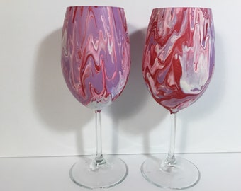 Two ~15oz Original Hand-Painted Wine Glasses