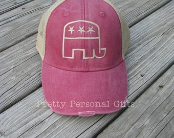Republican Elephant Hat, Democrat Donkey Hat,  distressed trucker hat, political baseball hat, Political Party Hat,  Political Baseball Hat