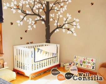 "Tree Wall Decal -  Nursery Wall Decoration - Tree Wall Sticker - Full Corner Tree decal - Large: approx 93"" x 123"" - KC036"