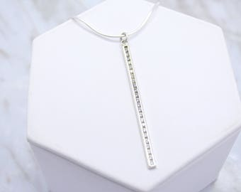 Cubic Zirconia Bar Necklace // CZ Bar Necklace // Silver Bar Necklace // Linear Necklace // Geometric Necklace // Linear Bar // Gift for Her