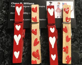 You're All Heart PinPals clothes pins party favor, place setting, bookmark