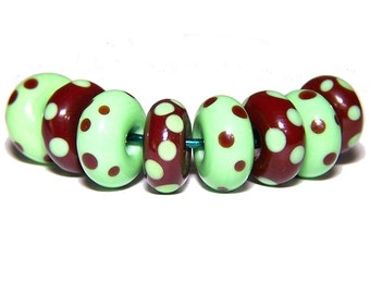 Handmade Lime and Mahogany Lampwork Spacer Beads by Cara