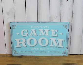Game Room Sign/Personalized/Man Cave/Christmas Gift/YOU choose Colors/Game Room/Female/Wood Sign/Hand Painted/Wood Sign/No Cheating/Cryin