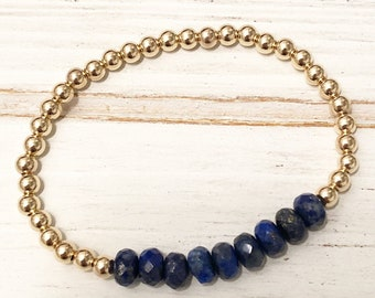 Lapis lazuli and 14k gold filled beaded bracelet
