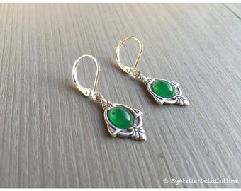 Art deco Iza earrings, sterling silver and green agate