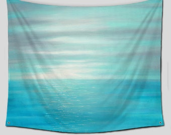 Wall Tapestry, Teal Blue Gray, Large Wall Hanging, Beach decor, Coastal Ocean Sunset, Tapestries, Modern Wall art, Outdoor wall decor, Patio