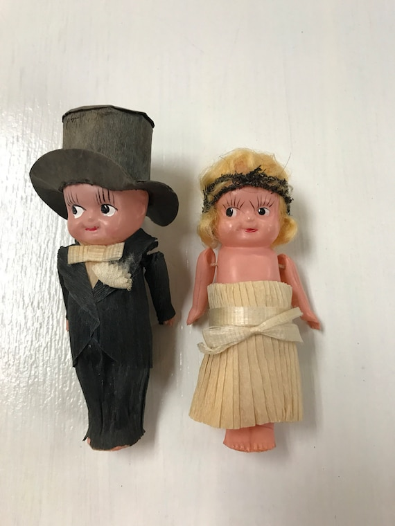 Bride and groom celluloid dolls 1920's