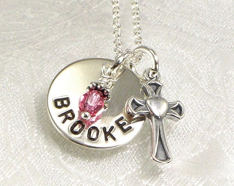 Personalized Girl's Cross Necklace with Name  Hand Stamped Jewelry  Brooke Cross Pendant  Heart  Confirmation  First Communion Birthday Gift