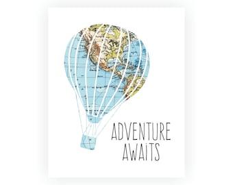Adventure Awaits Art Print, Hot Air Balloon, Baby Nursery Wall Art, Baby Nursery Decor, Nursery Print, Nursery Map, Blue Nursery Wall Art