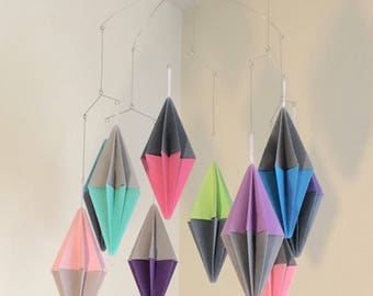 Geometric Mobile, Modern Baby Mobile, Origami Nursery Decor, Crib Mobile, Kinetic Sculpture, Baby Shower Gift, Paper Mobile, Minimalist