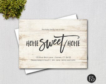 Moving Announcement /  New Home Sweet Home / Pallet Wood Moving Announcement / Printable Digital Invitation/ 9610