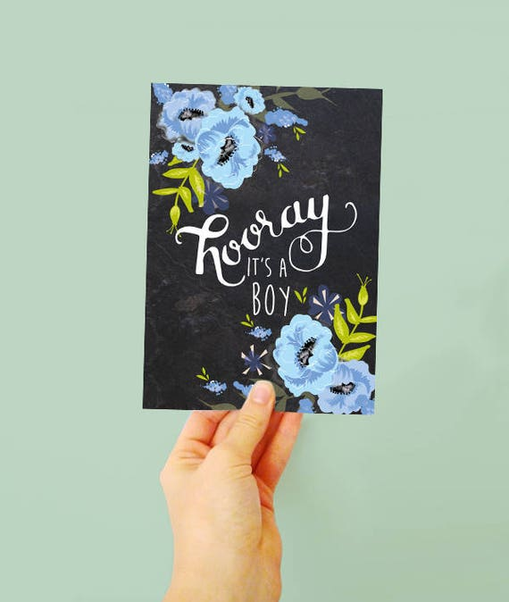 Hooray it's a boy! - New Baby Boy Card - New arrival - Blue Flowers - pretty card for a new baby boy