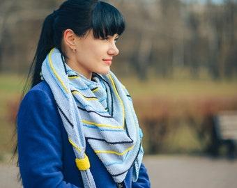 Grey baktus in stripes, small shawl, cotton