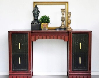 1929 Art Deco desk / vanity with optional mirror, dresser and stool to match .