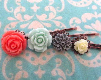 Holiday flower bobby pin with holiday gift tag -coral rose, mint rose, gray dhalia, cream rose, peach rose bobby pin 4pcs chose your own