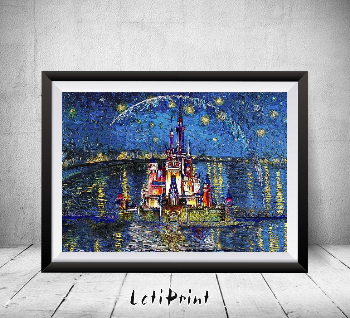 Disney castle print starry night disney painting disney zoom jeuxipadfo Choice Image