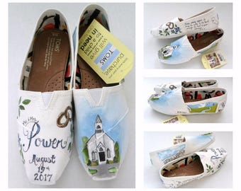 Bride's Love Story Wedding Shoes, Personalized Wedding Shoes, Wedding Shoes, Wedding TOMS, Painted Shoes, Gift for the Bride, Shower Gift