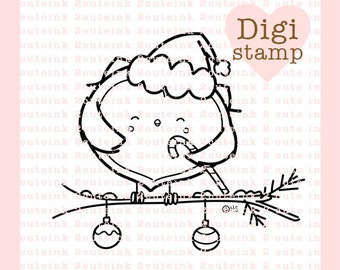 Candy Cane Owl Digital Stamp Line Art for Card Making, Paper Crafts, Scrapbooking, Hand Embroidery, Jewlery, Coloring Pages