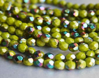 6mm Olive Fire Polished Czech Glass Beads - Opaque Green - AB finish Beads - Bead Soup Beads