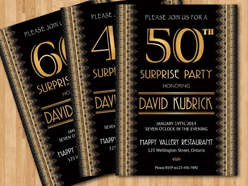 50th birthday invitation Gatsby. 30th 40th 50th 60th 70th 80th