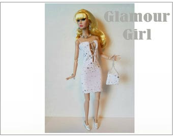 Poppy Parker Doll Clothes - GLAMOUR Hand-beaded Dress, Purse and Jewelry Set - Custom Fashion - by dolls4emma