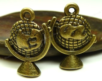 6 Globe Charms or Pendants  3D Double Sided Antique Bronze Tone Metal - 21x15mm - BK35