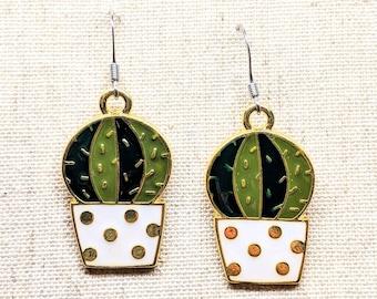Cactus Earrings / Green Enamel Earrings / Plant Earrings / Plant Lady / Succulent Earrings / Stainless Steel Ear Hook / Earth Day Earrings