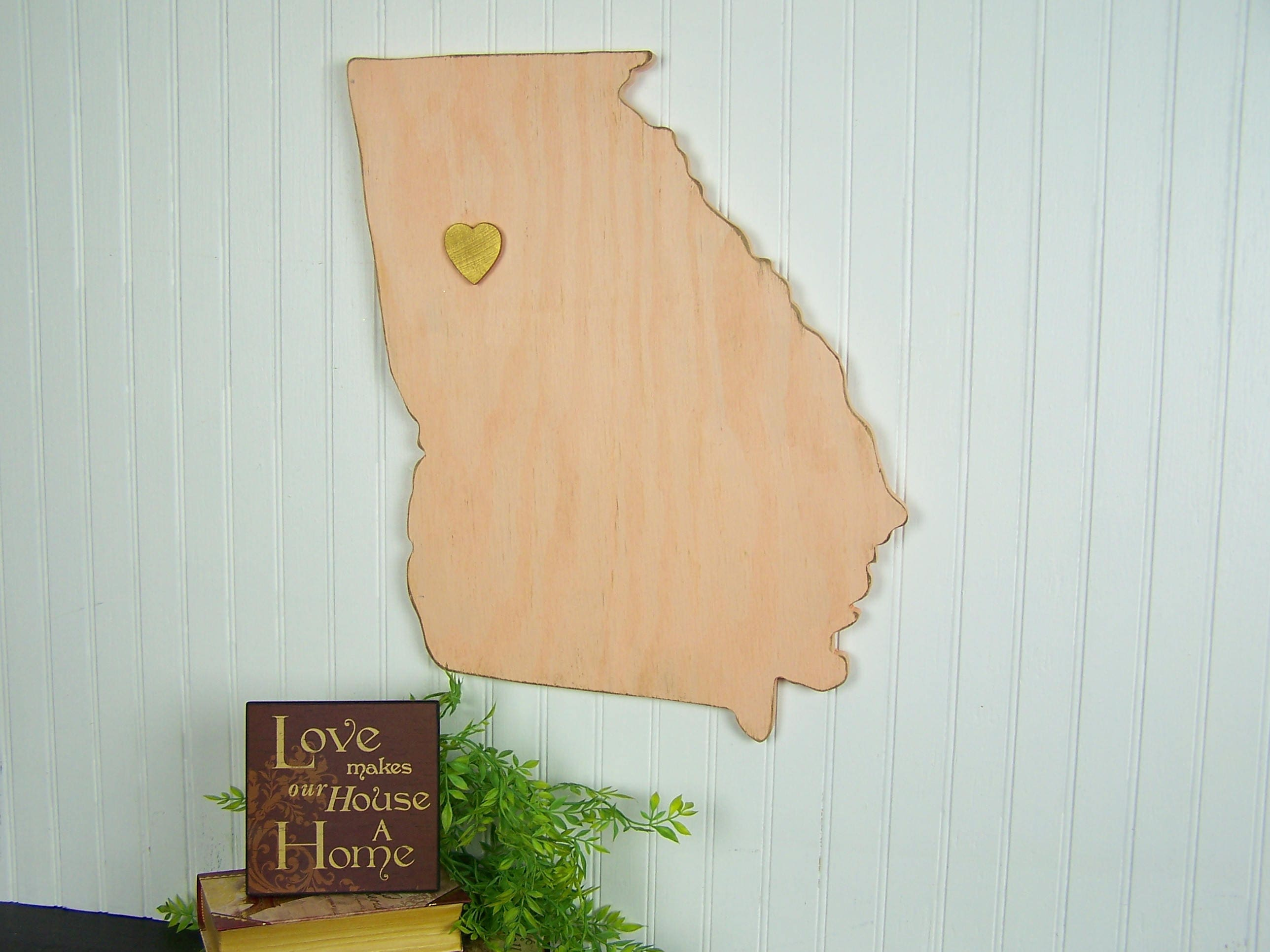 Georgia State Sign Wood State Wall Art State With Heart Wood