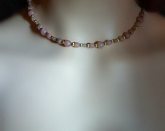 Napier signed dainty vintage choker - pink faux quartz lavender and gold plated beads -  minimalistic and elegant - for the quaint romantic