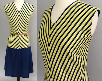vintage 70s dress || 1970s dress || navy blue and yellow chevron stripe dress || collegiate dropwaist dress || fall dress || large xl