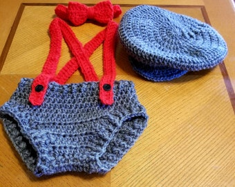 Crochet Newborn Baby Newsboy Hat, Diaper Cover, Bow Tie, and Suspenders Hipster Photo Prop