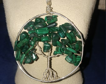 Malachite Sterling Silver Tree of Life