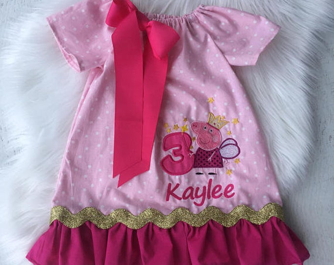 Peppa Pig Birthday Personalized Peasant Dress